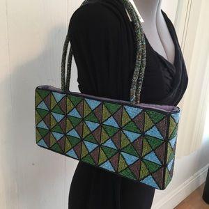 Handbags - NWOT Beaded Rectangular Geometric Pattern Purse